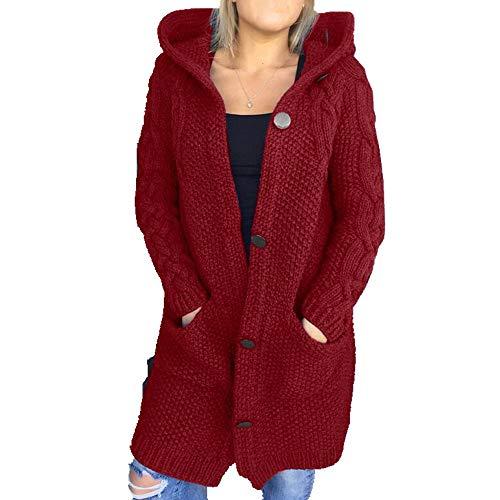 Vrouwen Winter Hooded Gebreide Vest Sweater Lange Jas Dames Elegante Lange Mouw Enkele Breasted Pocket Knitwear Uitloper - rood - L