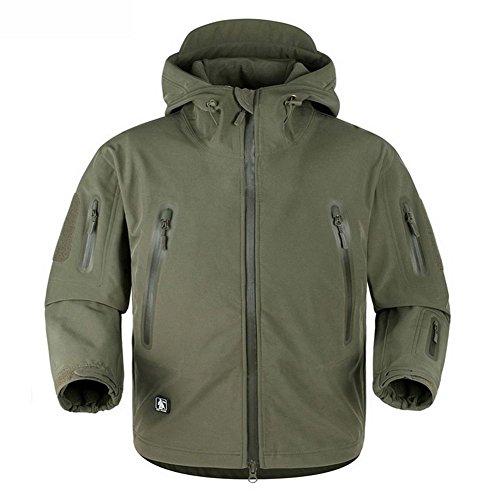 REEBOW GEAR Army Taktische Softshell Jacke Outdoor Wasserdicht Kapuzenjacke Army Gruen 2XL