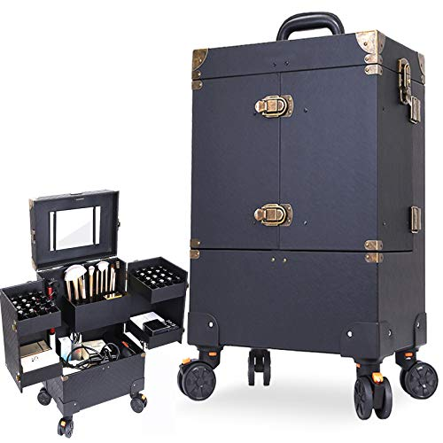 XXLHH Wheel Luggage for Cosmetic Makeup artist Suitcase Nail tattoo Trolley Case Beautician cabin box Cosmetic Bag for Woman,A