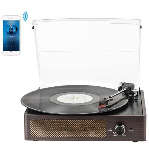 Giradischi Bluetooth Portatile a Tre Velocità (33 1/3, 45 E 78 Giri), Vintage Vinile Giradischi con Altoparlanti Stereo Integrati, supporta uscita RCA / Jack per cuffie / MP3