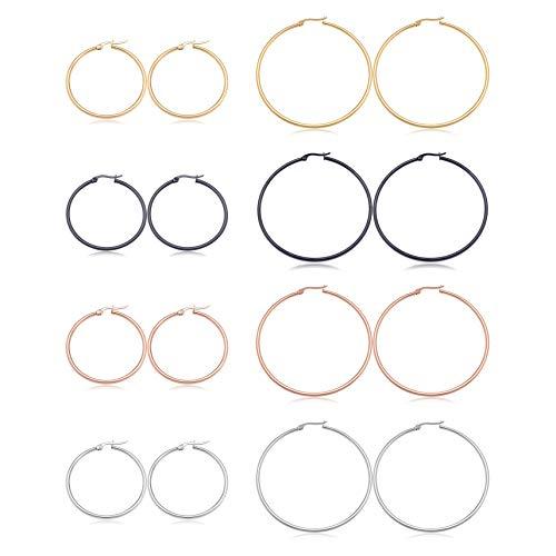 Haisiluo - Juego de 8 pares de pendientes de aro redondos de acero inoxidable para mujeres y niñas (tono plateado y dorado)