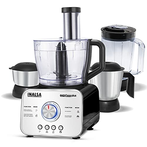 INALSA Food Processor Professional With Mixer Grinder INOX 1000 Plus| Copper Motor 1000W|Precise Electronic 25 Speeds Knob|14 Functions|3 Pre-set Buttons|Food Grade Blender Jar & 304 SS Grade 2 Jars