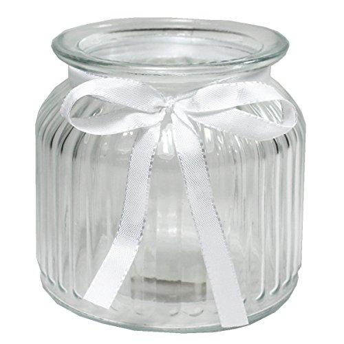 Annastore 12 x Windlichter Vintage aus Glas H 10,2 cm - Glaswindlichter für große Teelichter (12 x Gläser mit weißem Dekoband)