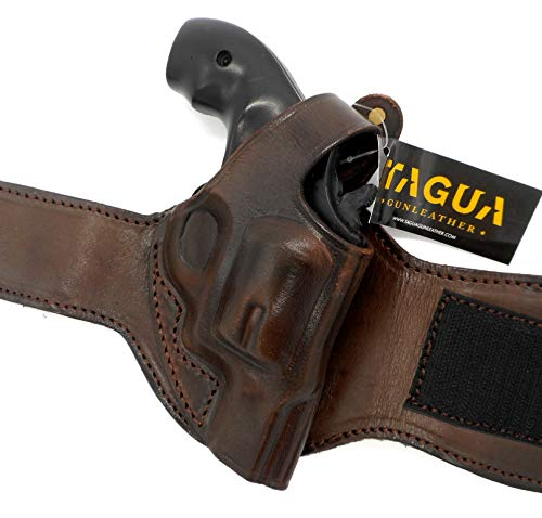 HOLSTERMART USA TAGUA Premium Dark Brown Leather Ankle Holster for Smith & Wesson S&W J-Frame...