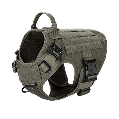 ICEFANG Tactical Dog Harness with 2X Metal Buckle,Working Dog MOLLE Vest with Handle,No Pulling Front Leash Clip,Hook and Loop for Dog Patch (M (25