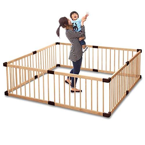 RiZKiZ 木製ベビーサークル 167cm×167cm×55cm 8枚セット 大きさ、形組み換え可能 簡単設置 (ナチュラル, 【...