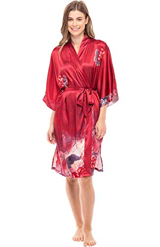 Alexaner Del Rossa Women's Midi Length Satin Kimono Wrap - Belted Robe with Pockets, Limited Edition Print, Medium Floral on Red (A0465W26MD)