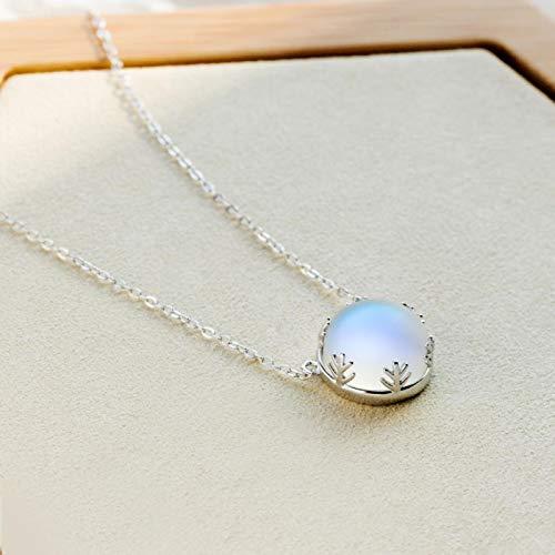Aurora - Collar con colgante de halo con piedras preciosas de cristal S925 para mujer, elegante regalo de joyería