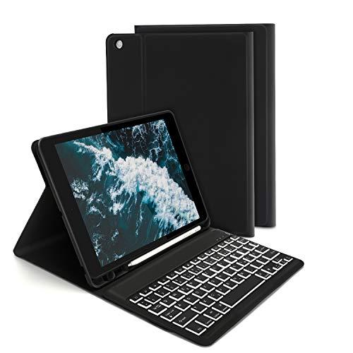 Jelly Comb Beleuchtete Tastatur Hülle für Neues iPad 2020/2019 10,2 Zoll(8./7. Gen), iPad Air 2019(3. Gen), iPad Pro 10,5 2017, Bluetooth QWERTZ Tastatur mit Schützhülle/Pencil Halter, Schwarz