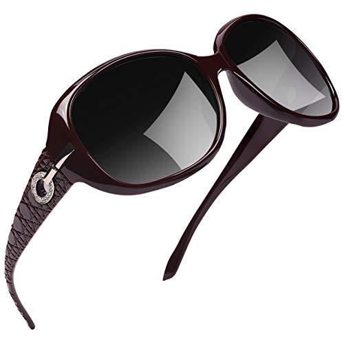 Joopin Occhiali da Sole da Donna Grande Telaio, Protezione UV Signora Moda Polarizzati Occhiali da Sole U9045 (Vino rosso)