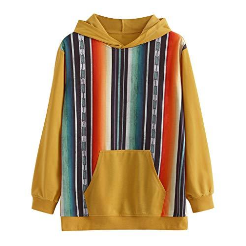 LOPILY Tunika Damen mit Streifen Muster Bunte Gdruckte Blusenshirts Lose Lockere Kapuzenpullover Senfgelbe Hoodies Damen Oversized Sweatshirts Damen Übergröße(Gelb, 32)