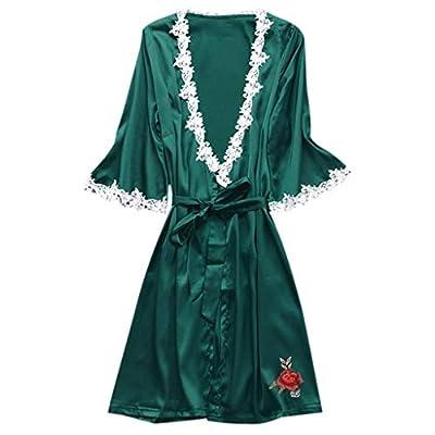 RAINED-Women's Silk Robe Long Satin Kimono Robe Lightweight Bathrobe Lace Trim Bridesmaid Robe Bridal Robe Sleepwear