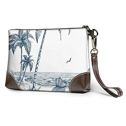 VJSDIUD Cartera de mano con flecos/hebilla con cinturón de palmeras, barco de pesca impreso, bolso de mano desmontable de cuero para mujer, bolso de muñeca para mujer