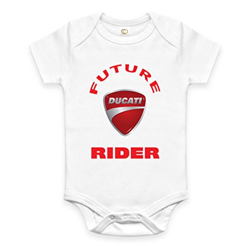 Rare New Ducati Rider Bike Biker Funny Baby Clothes Cute Unisex Bodysuit Onesie Short Sleeve Romper One Piece Prime Outfits with Sayings Body Bébé (0-3 Mois)