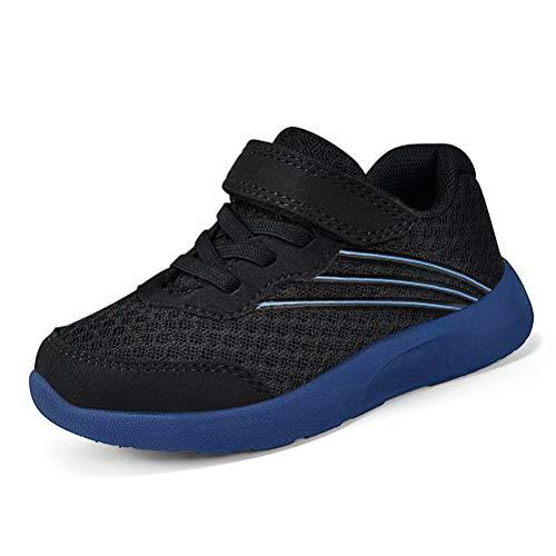 Zapatillas de running para niños, antideslizantes, ligeras, transpirables, modernas, cómodas, senderismo, 26-35 EU, Negro (Negro 2.), 30 EU