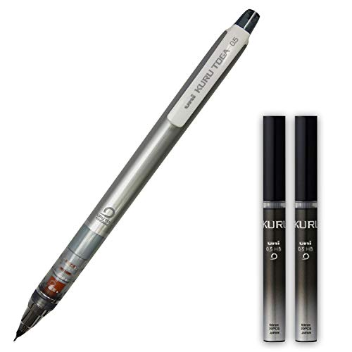 Mitsubishi Uni kurutoga standard model 0.5mm Silver mechanical pencil with HB 0.5mm pencil leads 2 pack set