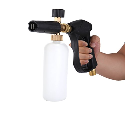 KKmoon Regadera ajustable para lavado de coche, 1 L, con HDPE y latón, jabón espuma a presión, arandela bombona, botella boca con lanza para herramientas profesionales de automóviles