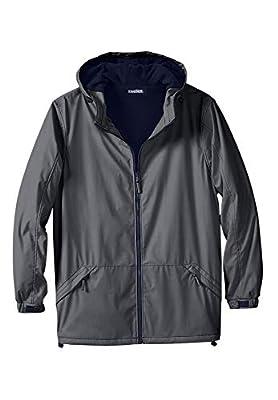 KingSize Men's Big & Tall Fleece-Lined Rain Coat - Big - 6XL, Steel from KingSize