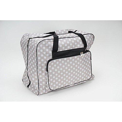 Unbekannt Nähmaschinen Tasche XL (Taupe/grau/weiß gepunktet)