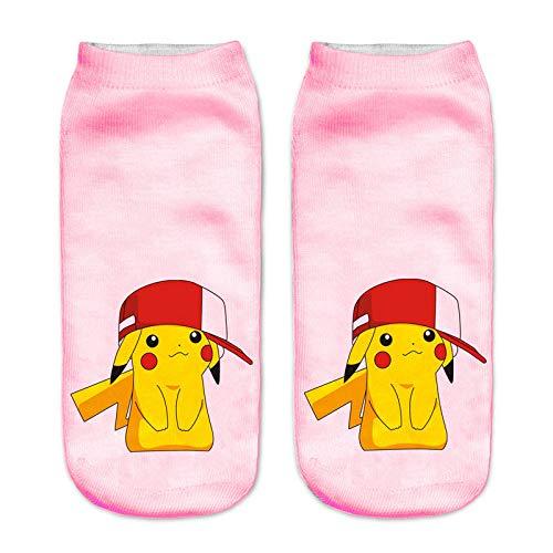 TDPYT 10 Stücke/Frauen Harajuku 3D Nette Pikachu Gedruckt Socken Low Cut Kurze Socken Ankle Strümpfe