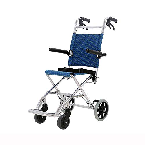 ZHICHUAN Wheelchair Folding Lightweight Boarding Available Solid Tire Safety Brake Armrests Transport Portable Aluminum Alloy Elder Heavy/Blue