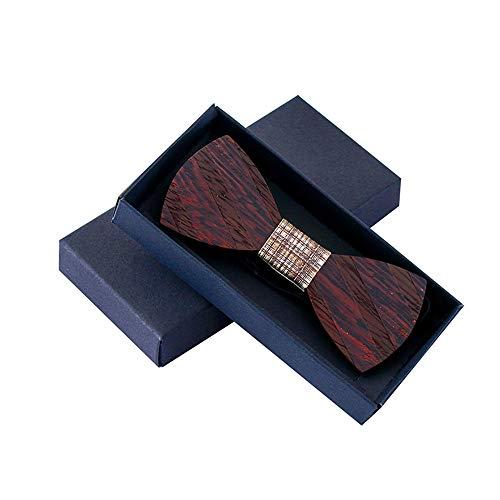 Neckchiefs Personalidad Delicada Corbata Corbata de Rayas de Madera Corbata de Lazo de Madera Arcos de Madera con Caja de Regalo (Color : B)