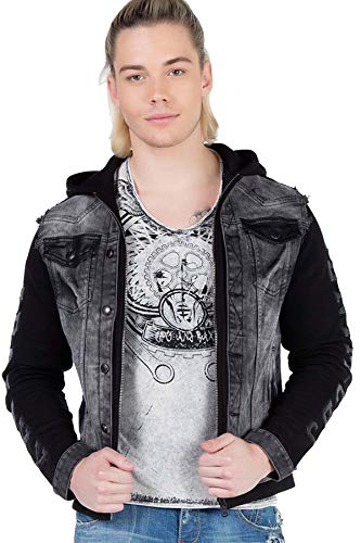 Cipo & Baxx Herren Doppel-Layer Jeansjacke Sweatjacke Kapuzenjacke Freizeitjacke Outdoor Jacke Schwarz XL