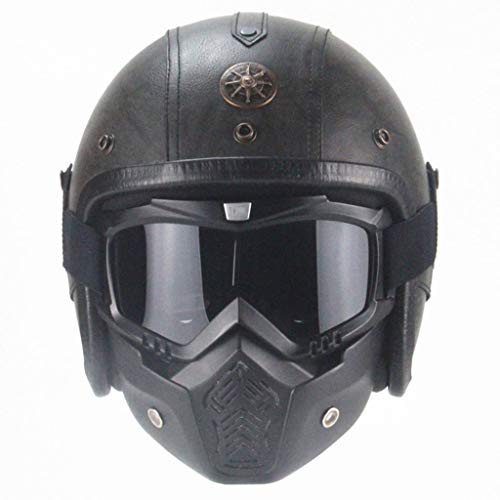 zyy Vintage motorhelm, integraalhelm, voor scooters, met helm, winterhelm, skihelm, unisex, alle seizoenen, incl. masker en zonneklep