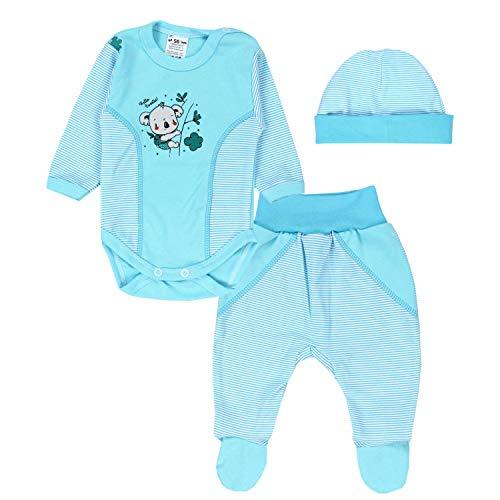 TupTam Baby Kleidung Set Body Strampelhose Mütze Teddybär, Farbe: Türkis/Streifen Koala, Größe: 56