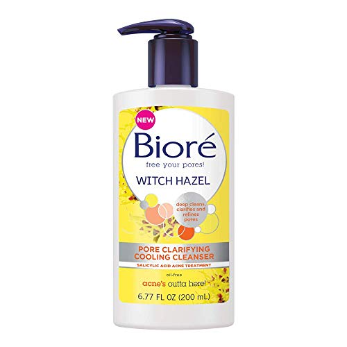 Bioré Witch Hazel Pore Clarifying Acne Face Wash, 6.77 Ounce, Exfoliating Facial Cleanser, 2% Salicylic Acid Acne Treatment for Acne Prone, Oily Skin