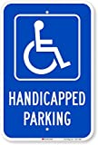 SmartSign Handicapped Parking Sign, 12 x 18 Inches 3M Engineer Grade Reflective Aluminum, Pre-Drilled Holes, USA Made