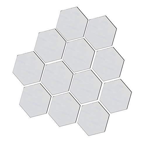 JHOOOD Adhesivo Hexagonal De Espejo Pared Espejos Pared Acrílico Hexagonal Hojas Espejo Acrílico Autoadhesivas Espejo Acrílico Hexagonal Vinilo De Decorativo Espejo Hexagonal 3D 12 Piezas