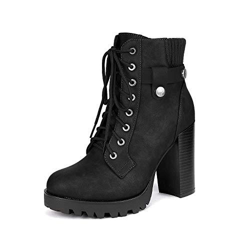 Dream Pairs SCANDL Mujer Botines de Tacón Alto Plataforma Invierno Moda Zapatos con Cordones Cremallera Negro 41 EU/10 US