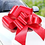 Zoe Deco Big Car Bow (Red, 23 inch), Gift Bows, Giant Bow for Car, Birthday Bow, Huge Car Bow, Car Bows, Big Red Bow, Bow for Gifts, Christmas Bows for Cars, Gift Wrapping, Big Gift Bow