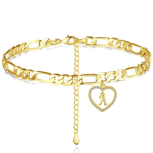 BFF&UNICORN Ankle Bracelets for Women Chain Initial Heart Anklet Gold Anklets Gifts for Mother Daughter Sister Niece Teen Girls 26 Letter Options A-Z