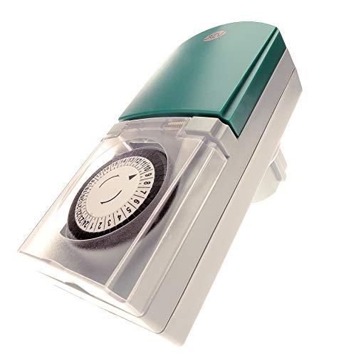 ZEITSCHALTUHR STECKDOSE Tempo OUTDOOR 2 Stück von 4smile | mechanische Schaltuhr mit Tagesprogramm (24h) 48 Schaltzeiten pro Tag | für den Außenbereich IP 44 | Kinderschutz | Farbe: grau-grün