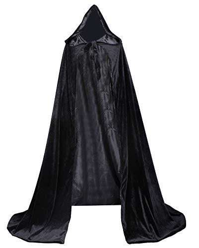 LuckyMjmy Velvet Renaissance Medieval Cloak Cape Lined with Satin (Medium, Black)