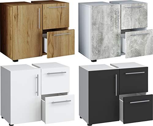VCM Bad Unterschrank Waschtisch Waschbeckenunterschrank Badunterschrank Schrank Möbel Flandu 51 x 60 x 30 cm Badezimmer Regal Weiß/Beton-Optik