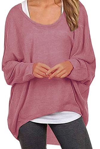 UGET Women's Sweater Casual Oversized Baggy Off-Shoulder Shirts Batwing Sleeve Pullover Shirts Tops Purple Red Asia S