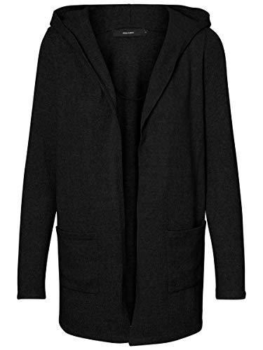 Vero Moda VMDOFFY LS Open Hood Cardigan GA Noos Chaqueta Punto, Negro/Detalle: Melange, L para Mujer