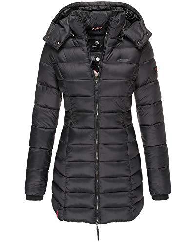 Marikoo Damen Winter Jacke Stepp Mantel Leichte Übergangsjacke Warm Lang S107 (L, Schwarz)