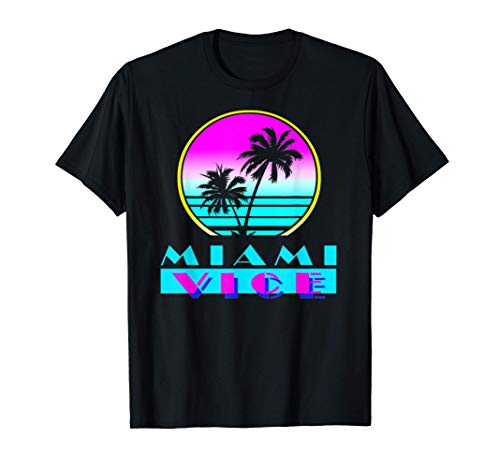 Miami Vice T-Shirt for Men and Women, Sunset and Palms Circle Design, S to 3XL