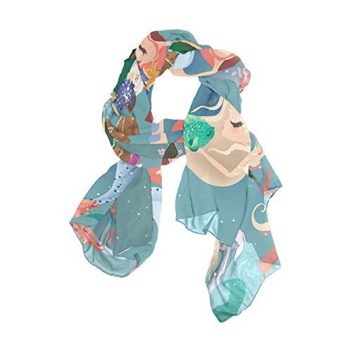 NaiiaN 90x180 CM Pañuelo cuadrado ligero Chal Bufanda Cabeza Envolturas Caballo para mujeres Niñas Señoras Favor Imprimir Mermaid World