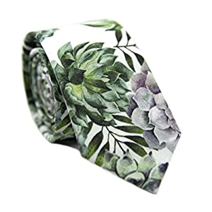 DAZI Men's Skinny Tie Floral Print Cotton Necktie, Great for Weddings, Groom, Groomsmen, Missions, Dances, Gifts.