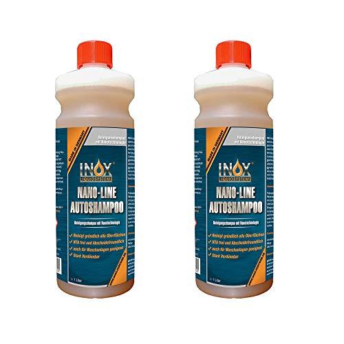 INOX® Nano Line Autoshampoo, 2 x 1L - hochwirksame Fahrzeug-Reinigung mit Abperleffekt