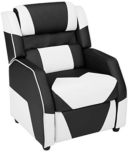 Amazon Basics Kids/Youth Gaming Recliner with Headrest and Back Pillow, 3+ Age Group, Black and White