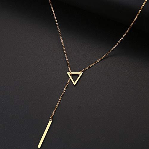 Ybyifs Collar de mujer con colgante doble, cadena larga, triángulo calado y baguette de acero inoxidable