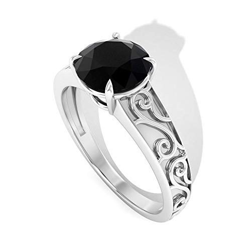 Vintage 1.25 CT Solitaire Black Diamond Engagement Ring, Solid 14k Gold Engraved Wedding Bridal Ring Sets, Filigree Birthday Anniversary Rings for Her, 18K White Gold, Size:UK L1/2