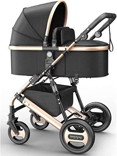 Carretilla El carro de bebé recién nacido niño del cochecito compacto convertible individual del niño del asiento del cochecito, la cesta del almacenaje, Seat de Zona Triciclo ( Color : Black )