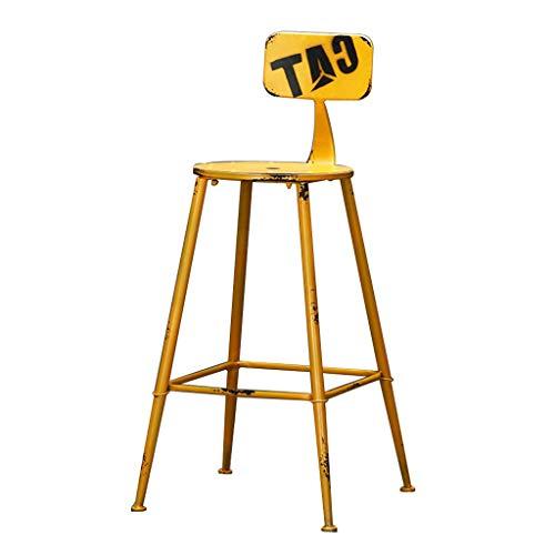 DFREW Silla de Estilo Industrial de la Vendimia Taburetes Taburete de la Barra Soporte Metálico de Diseño de la Cocina Restaurante Bar Taburete Alto Amarillo (Sentado Altura: 71Cm)